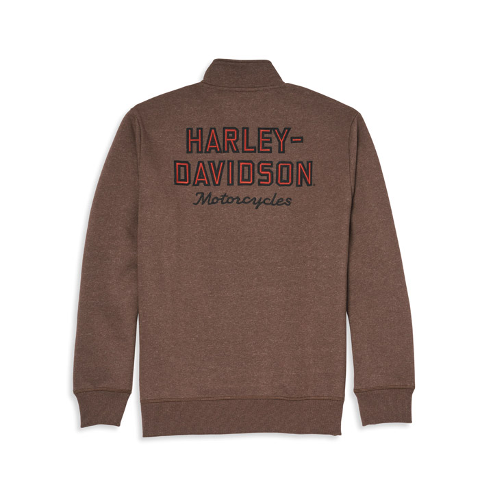 할리데이비슨 남성 바앤실드 쿼터 집업 풀오버 긴팔티셔츠