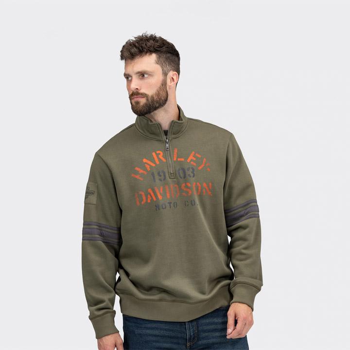 할리데이비슨 남성 스텐실 쿼터 집업 풀오버 긴팔티셔츠