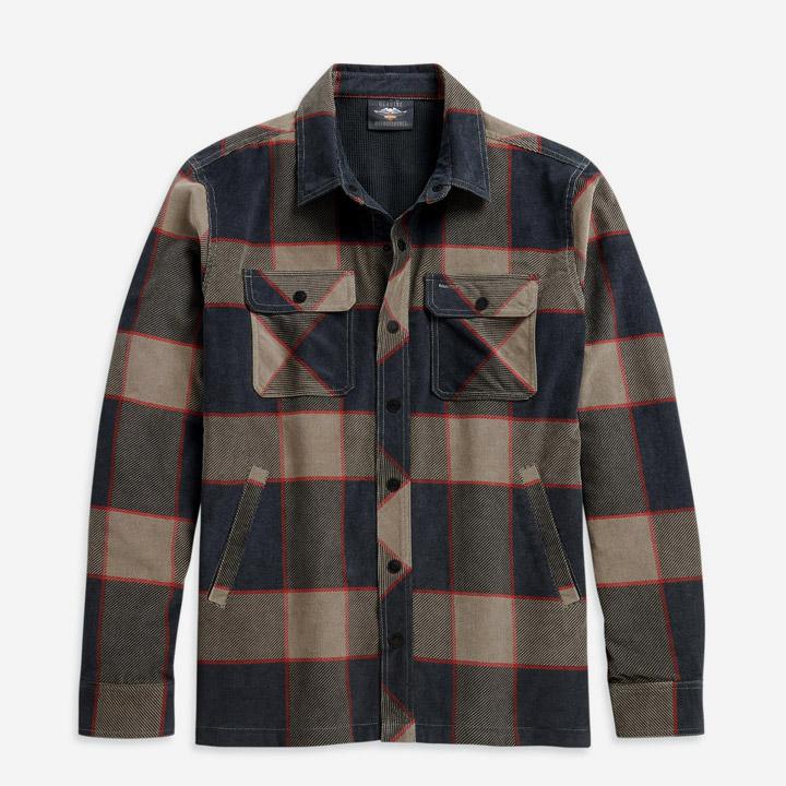 남성 라인드 프린트 코듀로이 셔츠재킷