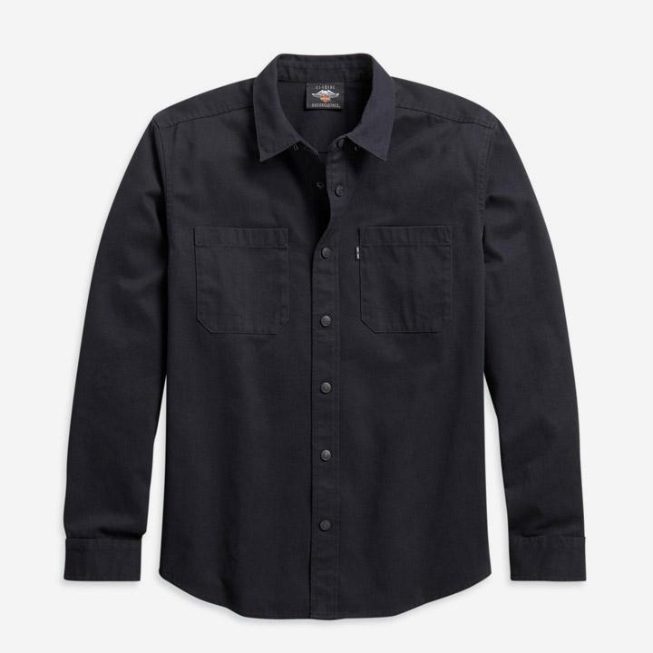 남성 솔리드 트윌 긴팔셔츠 BLACK