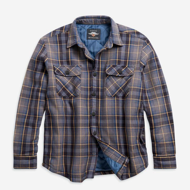 남성 퀼티드 라이닝 플래드 셔츠재킷 BLUE