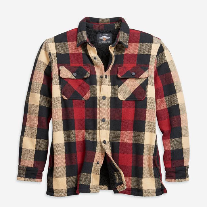 남성 셰르파 라인 플래드 셔츠재킷 RED