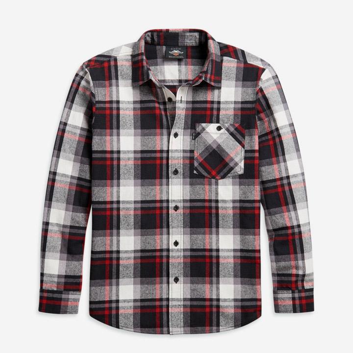 남성 선염 플래드 긴팔셔츠 RED BLACK