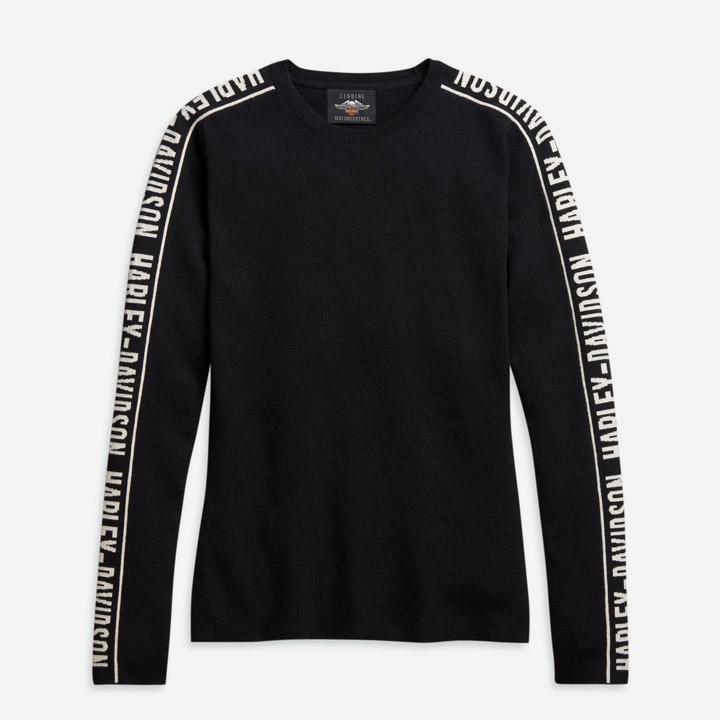 여성 자카드 슬리브 스웨터 긴팔티셔츠 BLACK