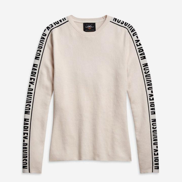 여성 자카드 슬리브 스웨터 긴팔티셔츠 TAN