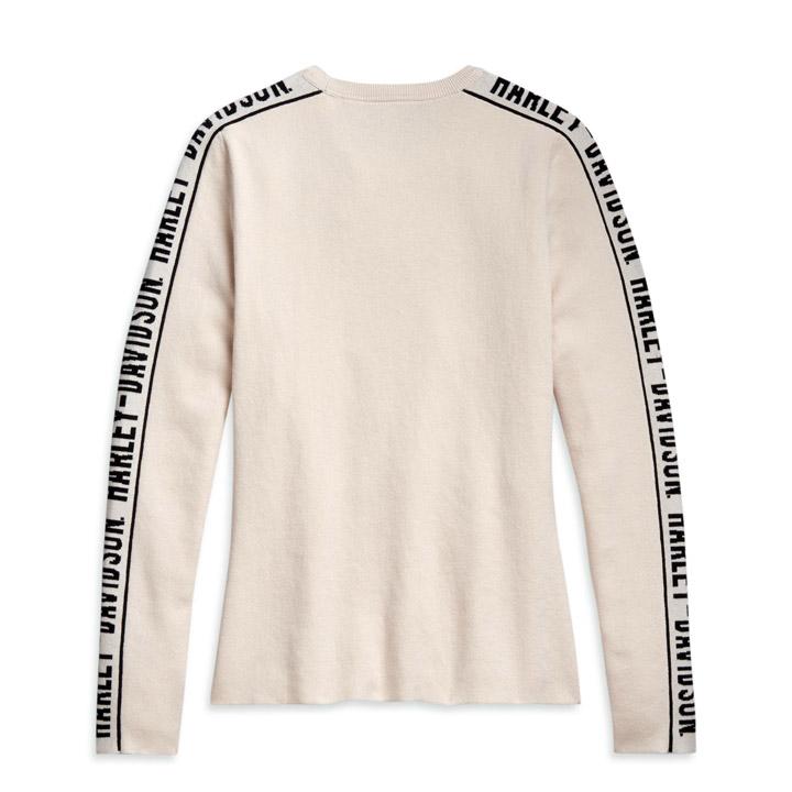 할리데이비슨 여성 자카드 슬리브 스웨터 긴팔티셔츠 TAN