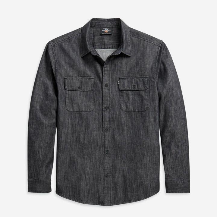남성 데님 긴팔셔츠 BLACK