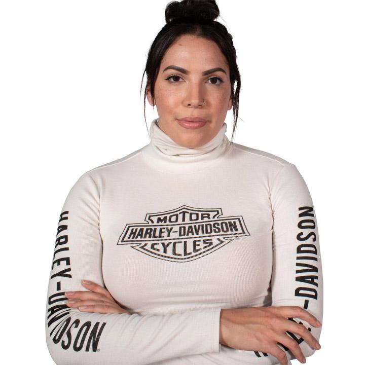 할리데이비슨 여성 로고 터틀넥 긴팔티셔츠 WHITE