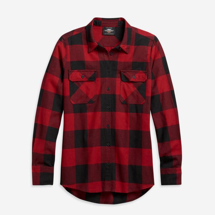 여성 버팔로 플래드 긴팔셔츠 RED