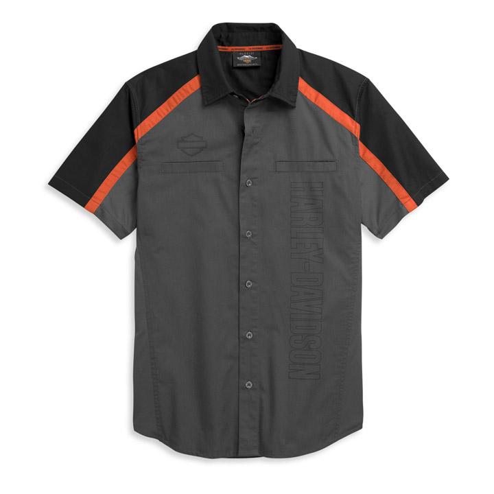 할리데이비슨 남성 버티컬 로고 컬러블록 반팔셔츠