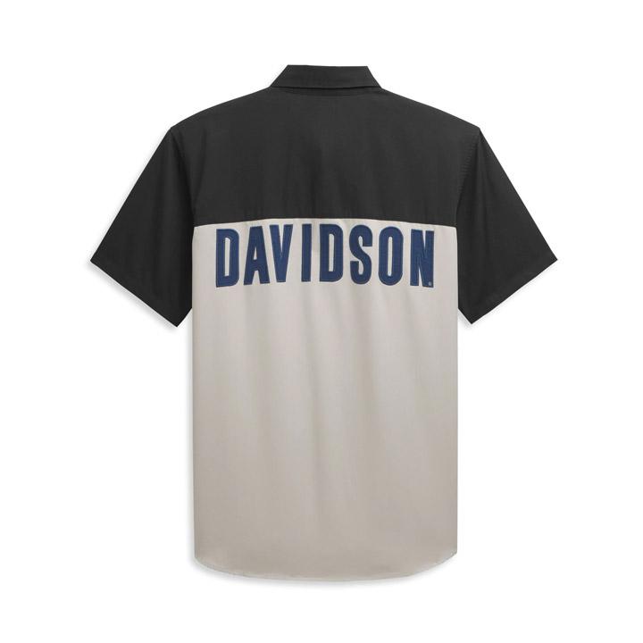 할리데이비슨 남성 블록 레터 컬러블록 반팔셔츠