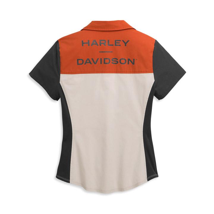 할리데이비슨 여성 호라이즌 컬러블록 지퍼 반팔셔츠