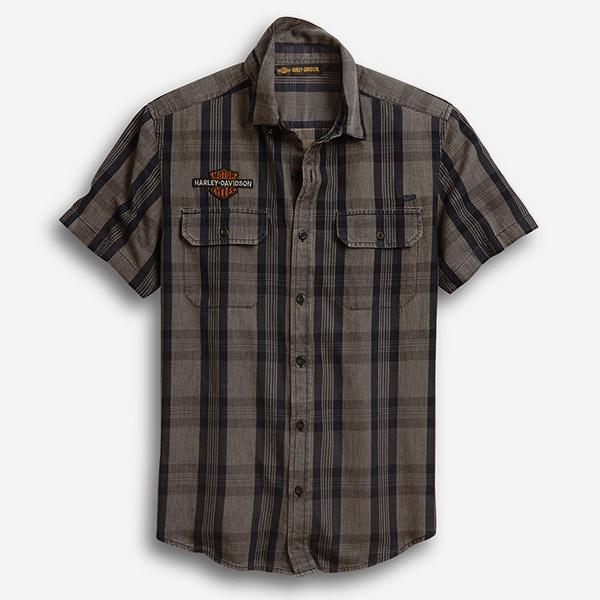 남성 로고 패치 플래드 반팔셔츠