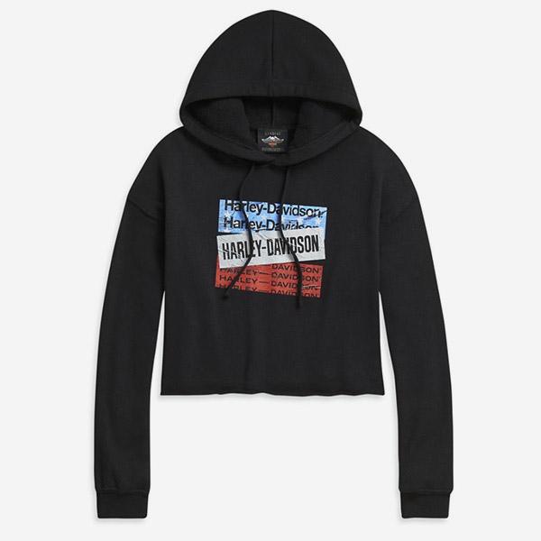 [LIMITED] 여성 H-D 스타즈 크롭 후드티셔츠