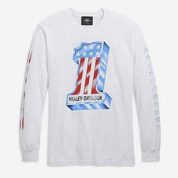 [LIMITED] 남성 H-D 스타즈 긴팔티셔츠 WHITE