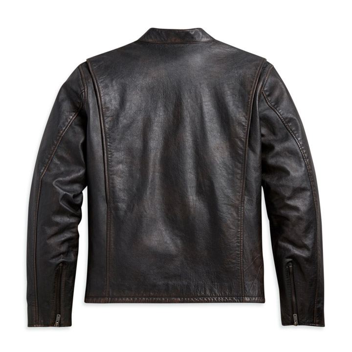 할리데이비슨 남성 슬리브 스트라이프 가죽재킷