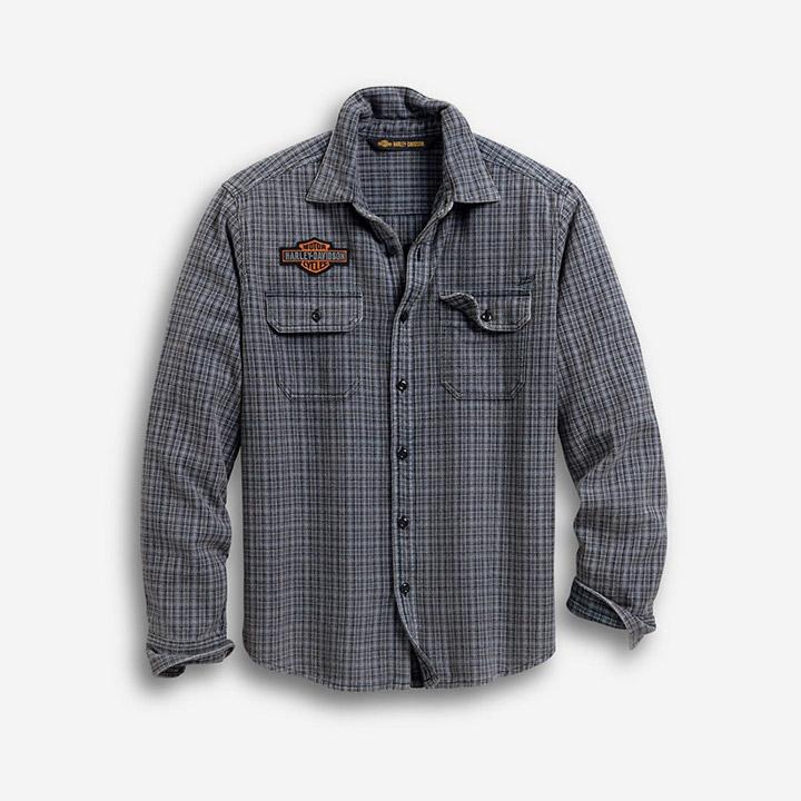 남성 H-D 플래드 긴팔셔츠