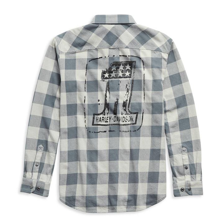 할리데이비슨 남성 #1 로고 플래드 긴팔셔츠
