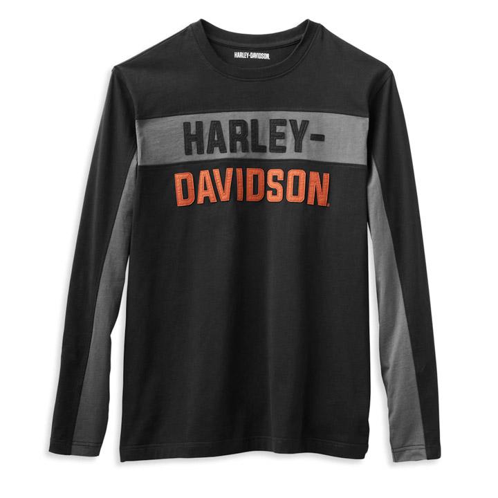 할리데이비슨 남성 코퍼블록 레터 긴팔티셔츠