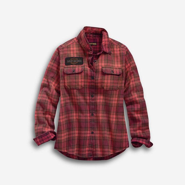 여성 레이저 컷 로고 플래드 긴팔셔츠