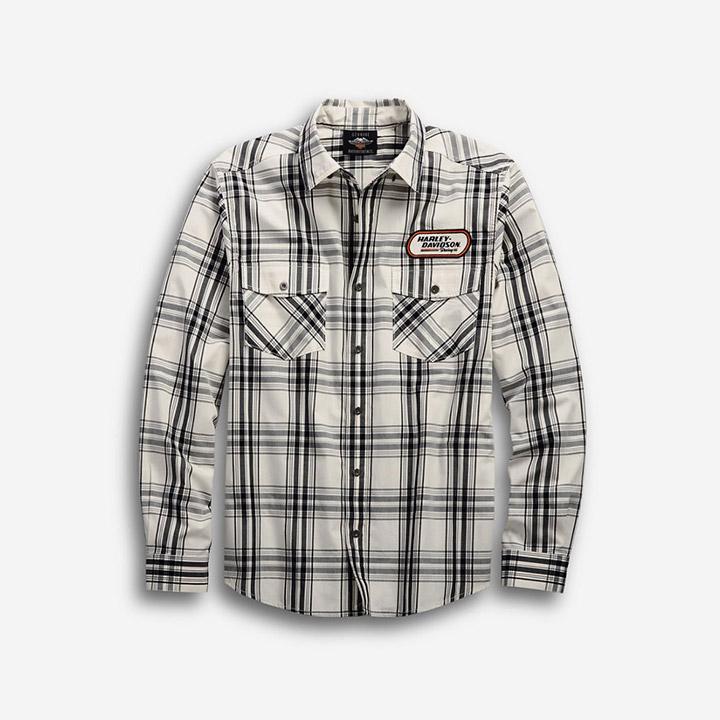 남성 H-D 레이싱 플래드 긴팔셔츠