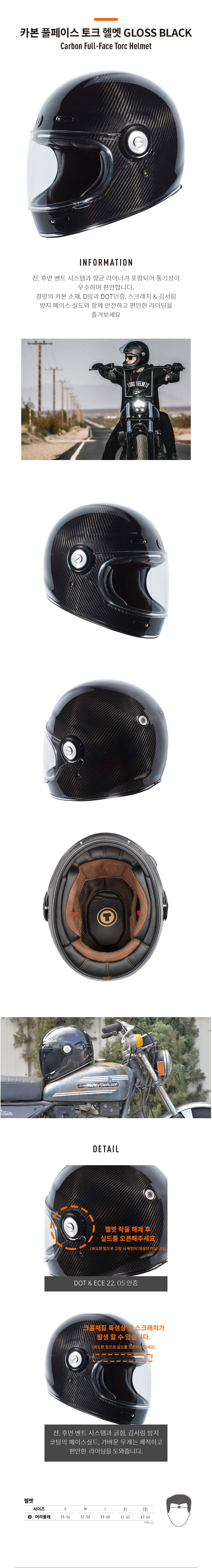 Torc 카본 풀페이스 토크 헬멧 GLOSS BLACK